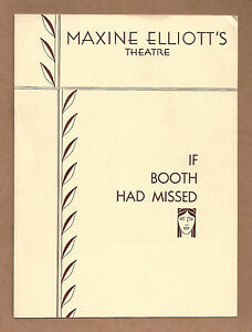 """Arthur Goodman """"IF BOOTH HAD MISSED"""" Abraham Lincoln 1932 Broadway FLOP Playbill"""