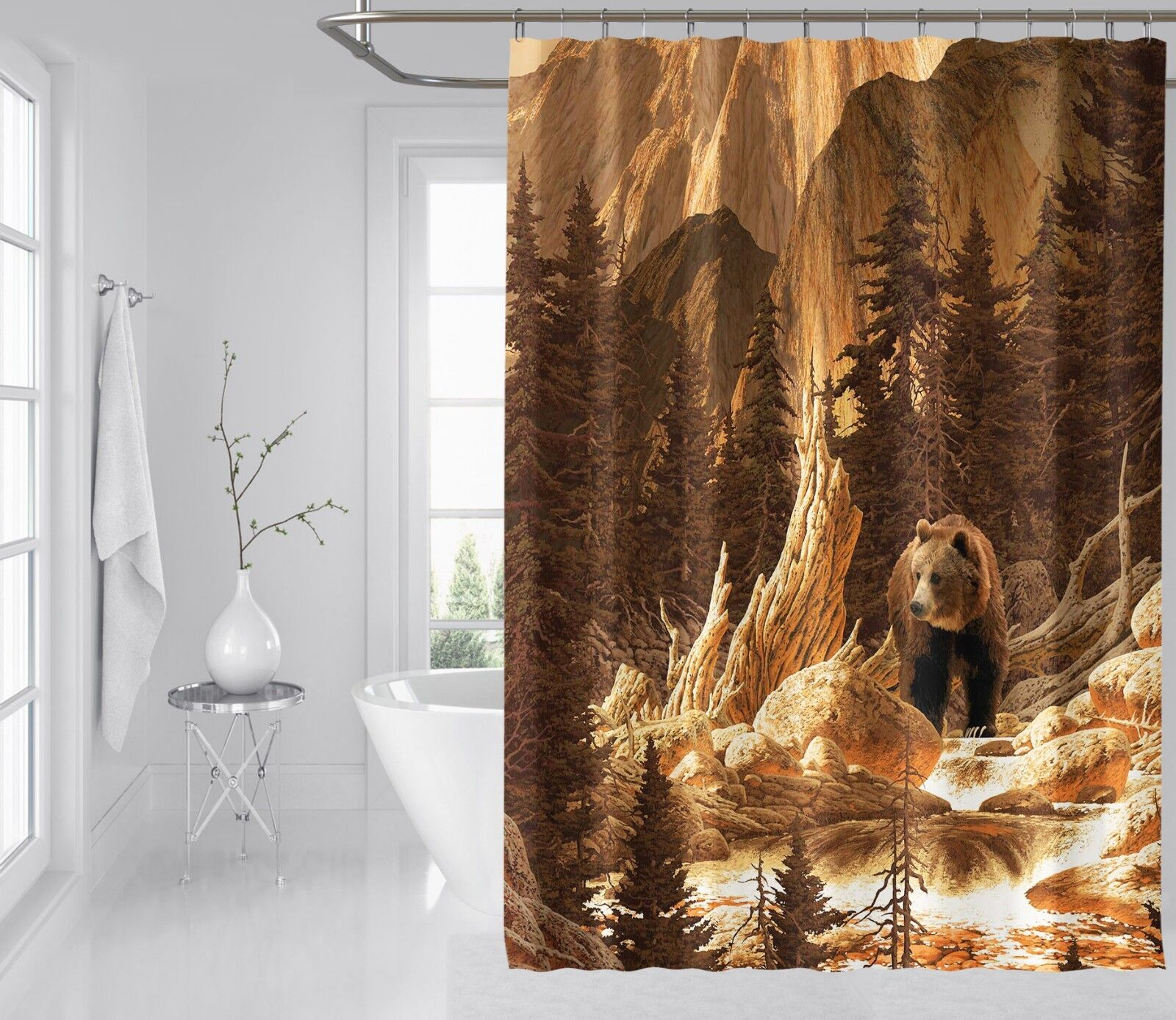 3D Grizzly Wald Wald Wald 7 Duschvorhang Wasserdicht Faser Bad Daheim Windows Toilette DE | Abgabepreis  467c20