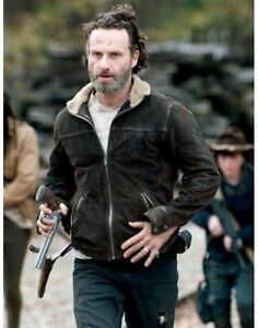 THE WALKING DEAD RICK GRIMES ANDREW LINCOLN 100/% SUEDE LEATHER JACKET