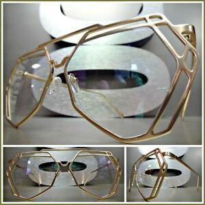 c624ddcf3d New OVERSIZE VINTAGE RETRO Style Clear Lens EYE GLASSES Hexagon Gold ...