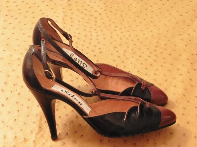 GREAT SHOE HEEL SILVY BROWN LEATHER AND BLACK VINTAGE 70 70 70 STOCK NEW T.36.5 16b9c3