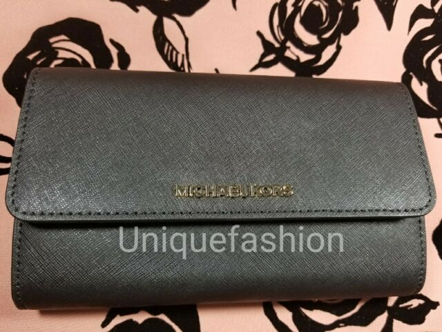 44ad79817 NWT MICHAEL KORS Jet Set Large Phone Crossbody CLUTCH WALLET Black LEATHER  $168