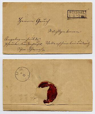 Geschickt R2 Stendal, Krankenhaus Faltbrief 1865 Nach Vollenschier - Graf Von Alvensleben Schrumpffrei