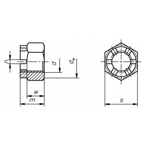 DIN 935 Kronenmutter M 8 x 1 6 // 6 Au blank Stahl - gedreht Feingewinde