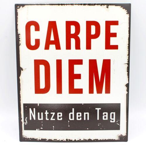 Blechschild ~ CARPE DIEM Nutze den Tag ~ Schild aus Metall zum Hängen ~ 25 x 20