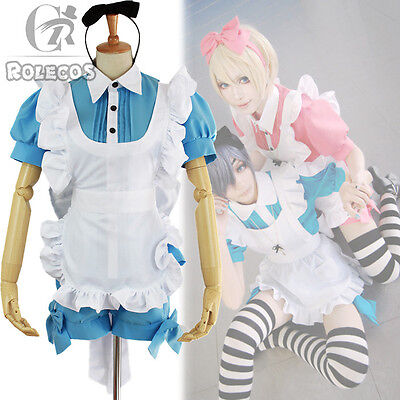 Black Butler Ciel Alois Trancy Alice in Wonderland Cosplay Costume Maid Dress