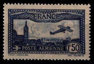 Poste-Aerienne-6-AVION-bleu-Marseille-Neuf-Cote-47-Timbre-France