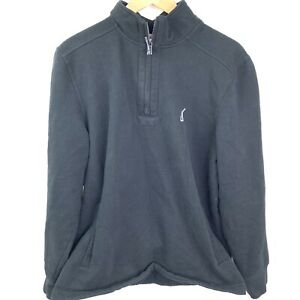 Nautica-Sweatshirt-Pullover-3-4-Zip-Mens-Size-Large-Black