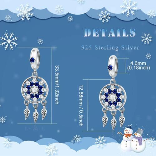 Dreamcatcher Navidad Copo De Nieve De Plata Esterlina Encanto Colgante Pulsera Collar