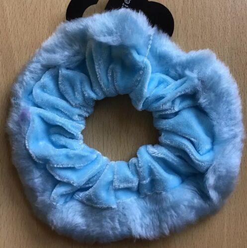 A Large Baby Blue Velvet And Fur Scrunchie Ponytail Band Bobble