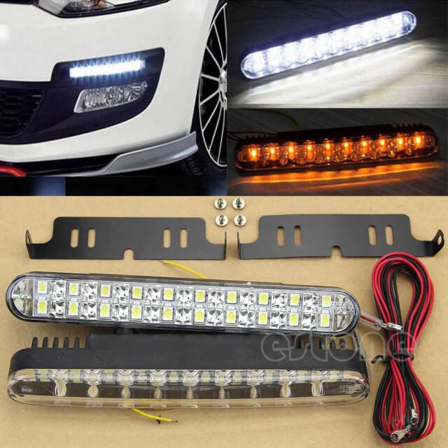 2pcs 12V 30 LED Car Daytime Running Light DRL Daylight Lamp with Turn Lights