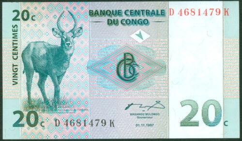 20 CENTIMES  1997   P 83   Uncirculated Banknotes CONGO DEMOCRATIC R