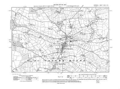 repro Corn-32-SE Cornwall Old map of St Columb Major 1907