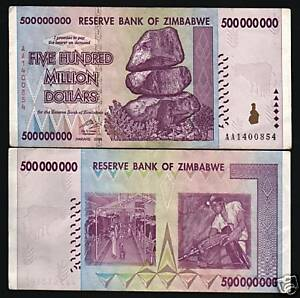 Image Is Loading Zimbabwe 500 000 New 2008 Million