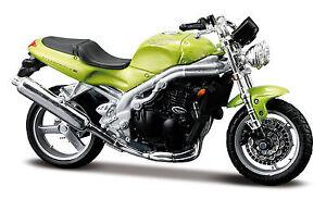 Triumph-Speed-Triple-Verde-Maisto-1-18-Modellino-Moto-Modello-Moto-Cast