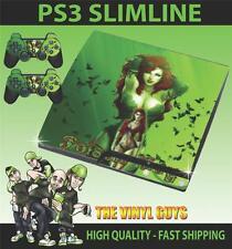 PLAYSTATION PS3 SLIM STICKER POISON IVY ARKHAM GIRLS BATMAN SKIN & 2 PAD SKINS