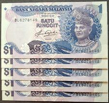 Rm 1 Aziz Taha 5th series Bradbury cons nos 5 pcs 1982 unc
