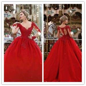 Details About Crimson Cathedral Wedding Dresses Bridal Gowns Long Sleeve Sweetheart Neck Boho