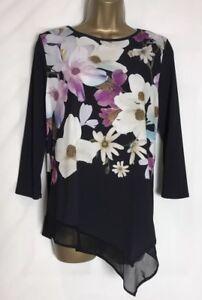 Roman-Black-Floral-Stretch-Jersey-Tunic-Top-Sizes-10-20-New-r-4e