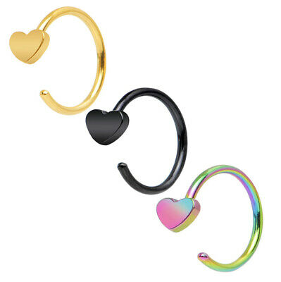 20g Rainbow Black Gold Steel Heart Nose Hoop Ear Cartilage Ring