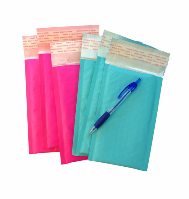 """4"""" x 8""""  Rigid Kraft BUBBLE MAILERS -Exclusive Hot Pink & Teal Colors (180 Pack)"""