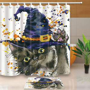 Image Is Loading Halloween Cat With Witch Hat Shower Curtain Bathroom