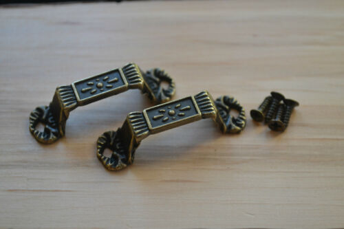ANTIQUE BRONZE EMBOSSED HANDLES PAIR PROKRAFT PKR BEH