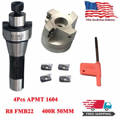400R 50MM Face End Mill Cutter US R8 FMB22 Arbor 4Pcs APMT1604 Carbide Inserts