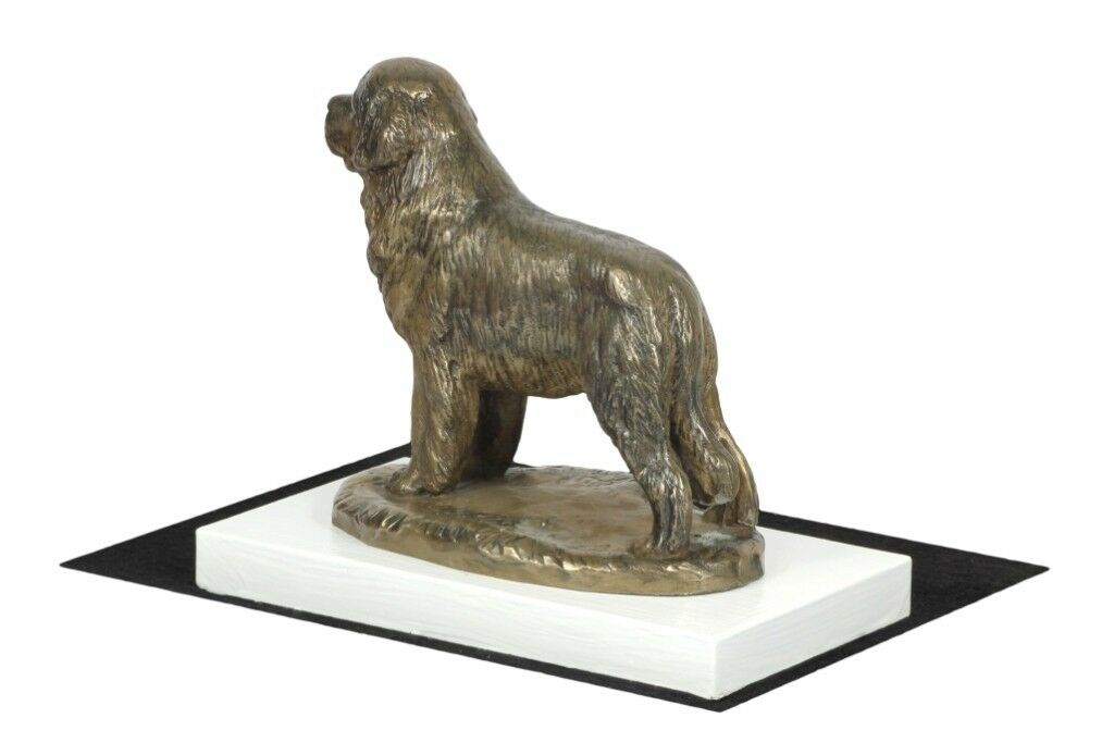 Newfoundland  - figurine figurine figurine made of Bronze on the Weiß wooden base Art Dog 23de87
