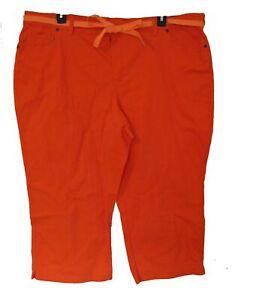 NEW ORANGE Capris Plus Size 24W 2X Capri Pants Twill Stretch Ribbon Belt NWT