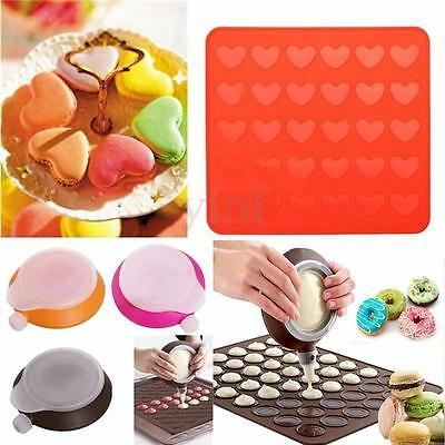 Set Heart Silicone Macaroon Macaron Mat + Decorating Pen 3 Nozzles Pastry Muffin