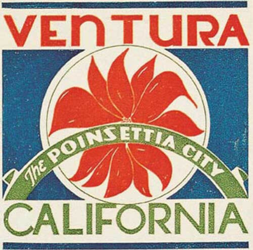 Ventura California Vintage Style  Travel Decal Sticker luggage label