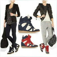 Women's Hidden Strap High-TOP Sneakers Shoes Ladys Ankle Wedge Boot Sports Heel