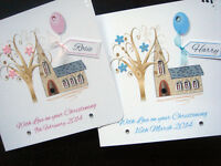 Handmade Personalised Church  Christening Card