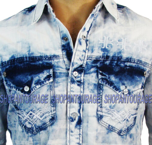 Affliction Take A Swing 110WV460 Men`s New White Denim Button-Down Shirt