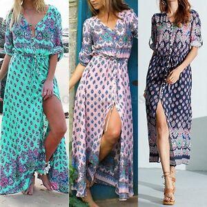 Exklusive Angebote Großbritannien bester Großhändler Details zu Damen Boho/Hippie Sommerkleid Maxikleid Beach Lang Partykleid  Strandkleid Neu