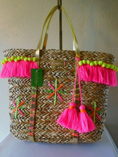 tote bag with Pompoms and Pink Leather Handles Large Straw basket