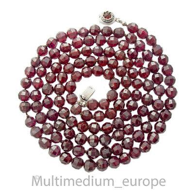 835er Silber Kette Granat Halskette Kt Silver Necklace Collier Garnet ????????????????????