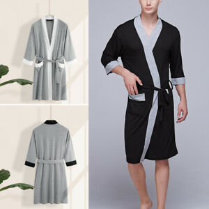 Mens-Casual-Pajamas-Kimono-Bathrobe-Robe-Dressing-Gown-Pjs-Loungewear-Summer
