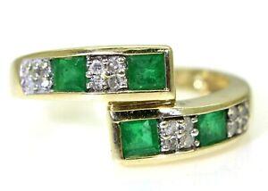 Princess-Emerald-amp-Diamond-Bypass-Band-9ct-Yellow-Gold-ring-size-L-5-3-4