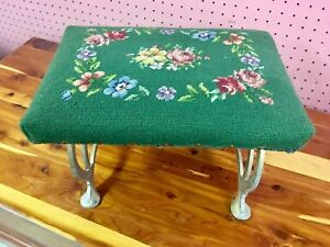Antique-Needlepoint-Stool-Green-Floral-Cast-Iron-Legs-Roses-Art-Specialty-AS680