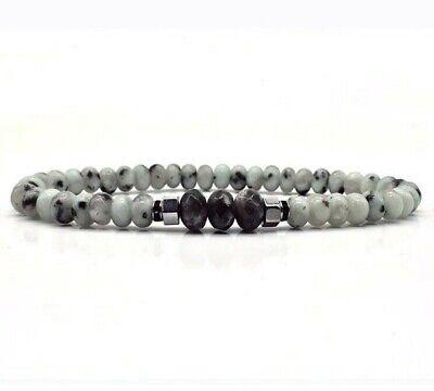 FAMA Mens Black Lava Stone Stretch Beaded Bracelet with Labradorite Centre Beads