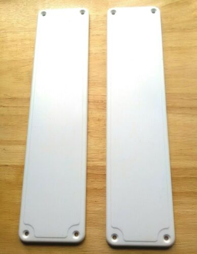 SET OF 2 Plastic Door Finger Plates White Good Quality Easy to Fit push plates