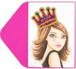 RARE Papyrus Bella Pilar Queen for a Day Stick On Patch Crown Birthday Card