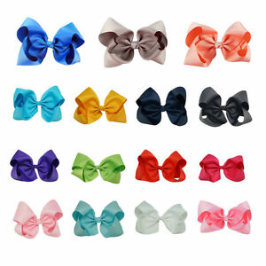 8-Inch-Large-Girls-Hair-Bows-Grosgrain-Ribbon-Knot-Large-With-Clip