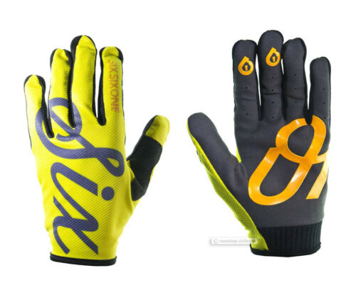 YELLOW SCRIPT SixSixOne COMP Full Finger MTB Mountain Bike Gloves