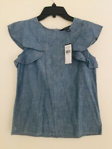 Polo Ralph Lauren Big Girls Chambray Flutter-Sleeve Cotton Top. Size 14.