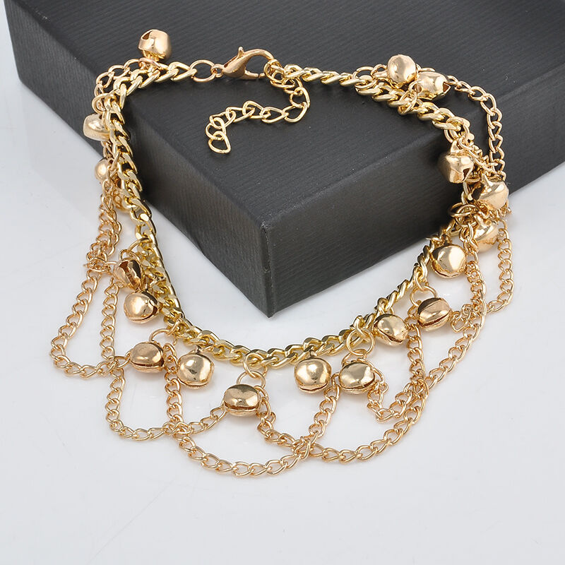 Chain Bracelet Womens: Unique Women 14K Gold Filled Two-layer Charm Bell Chain