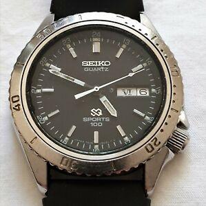 Seiko 7546-6020 Sports 100 Quartz Vintage 1979 Black Dial Day Date Watch
