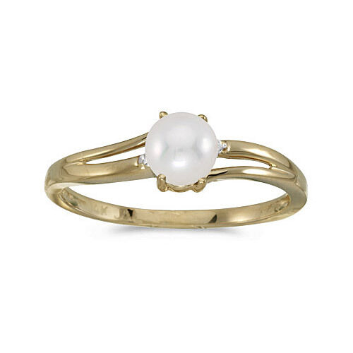 14k Yellow gold Cultured Freshwater Pearl & Diamond Ring (CM-RM1992X-06)